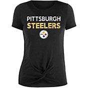 New Era Women's Pittsburgh Steelers Glitter Knot Front Black T-Shirt