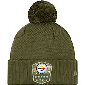 New Era Women's Salute to Service Pittsburgh Steelers Olive Cuffed Pom Knit