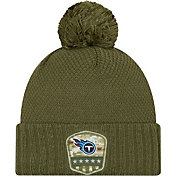 New Era Women's Salute to Service Tennessee Titans Olive Cuffed Pom Knit