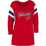 New Era Women's Houston Texans Foil Slub Red Three-Quarter Sleeve T-Shirt