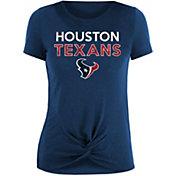 New Era Women's Houston Texans Navy Glitter Knot Front T-Shirt