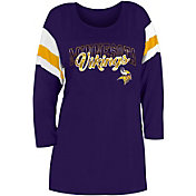 New Era Women's Minnesota Vikings Foil Slub Purple Three-Quarter Sleeve T-Shirt