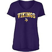 New Era Women's Minnesota Vikings Purple Foil V-Neck T-Shirt