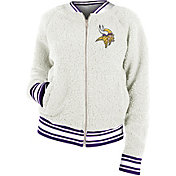 New Era Women's Minnesota Vikings Sherpa White Full-Zip Jacket