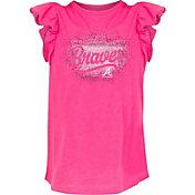 New Era Youth Girls' Atlanta Braves Pink Ruffle T-Shirt