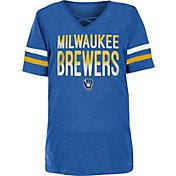 New Era Youth Girls' Milwaukee Brewers Blue Slub V-Neck T-Shirt