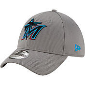 New Era Men's Miami Marlins Gray 39Thirty Clubhouse Stretch Fit Hat