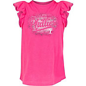 New Era Youth Girls' Philadelphia Phillies Pink Ruffle T-Shirt