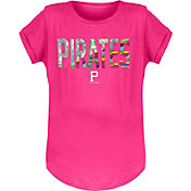New Era Youth Girls' Pittsburgh Pirates Pink Flip Sequins T-Shirt