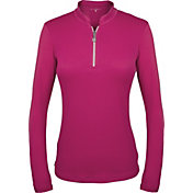 Sofibella Women's Mock Neck Long Sleeve Golf Polo