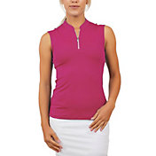 Sofibella Women's Mock Neck Sleeveless Golf Polo