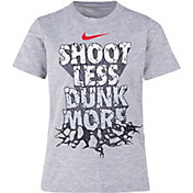 Nike Little Boys' Shoot Less Dunk More Graphic Basketball T-Shirt