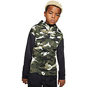 Nike Boys' Therma Camo Printed Hoodie in Medium Olive/Black