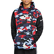 Nike Boys' Therma Camo Printed Hoodie in University Blue/Black
