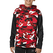 Nike Boys' Therma Camo Printed Hoodie in University Red/Black