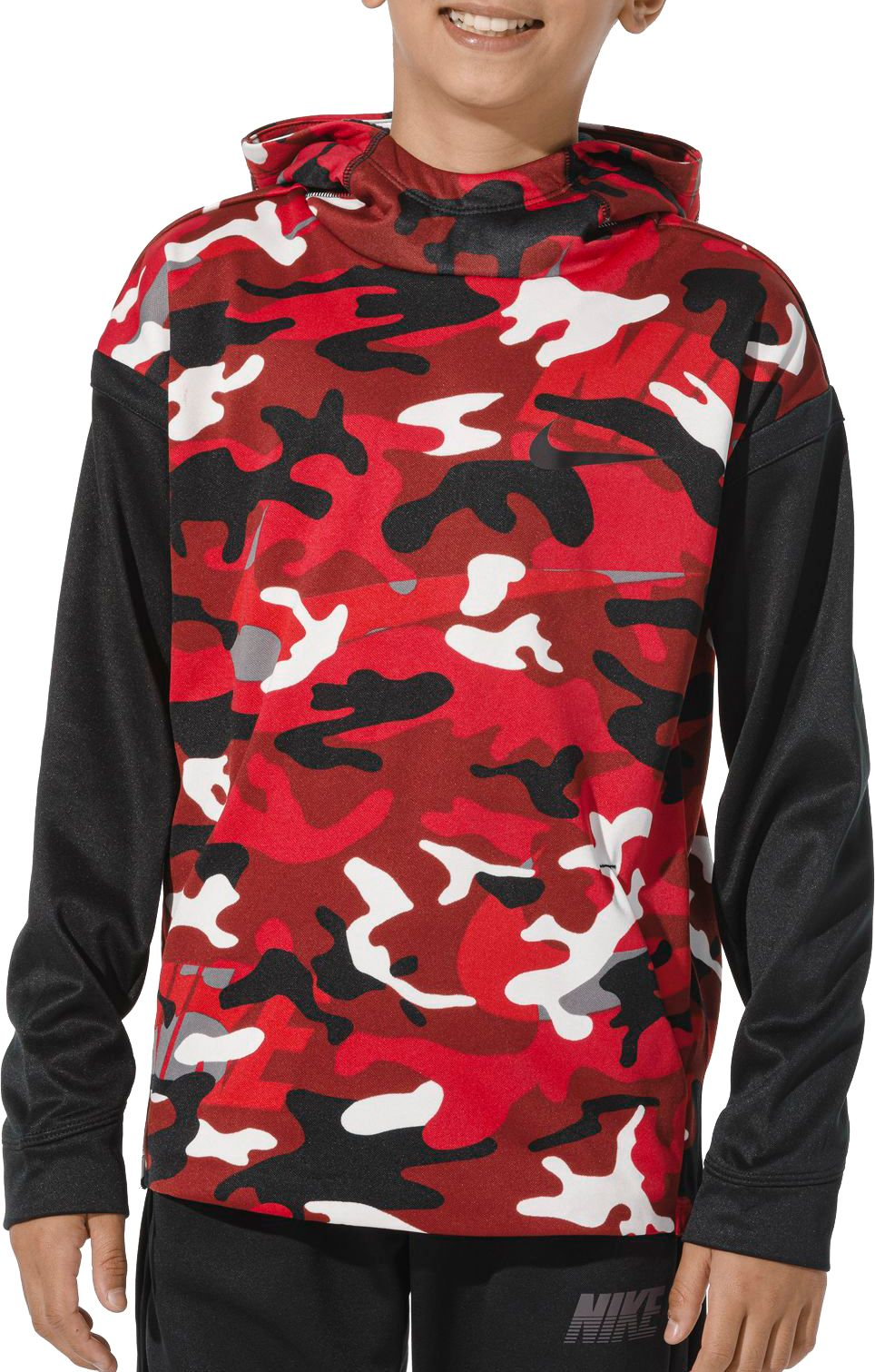Nike Boys' Therma Camo Printed Hoodie, Boy's, Size: XS, Red thumbnail