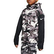 Nike Boys' Therma Camo Printed Hoodie in Vast Grey/Black