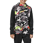 Nike Boys' Therma Camo Printed Hoodie in Volt/Black