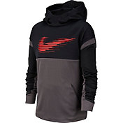 Nike Boys' Therma Graphic Hoodie in Black/Thunder Grey