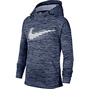 Nike Boys' Therma Graphic Hoodie in Midnight Navy Htr/Wht