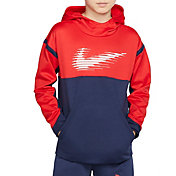 Nike Boys' Therma Graphic Hoodie in University Red/Mnight Nvy