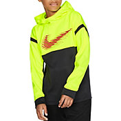 Nike Boys' Therma Graphic Hoodie in Volt Black