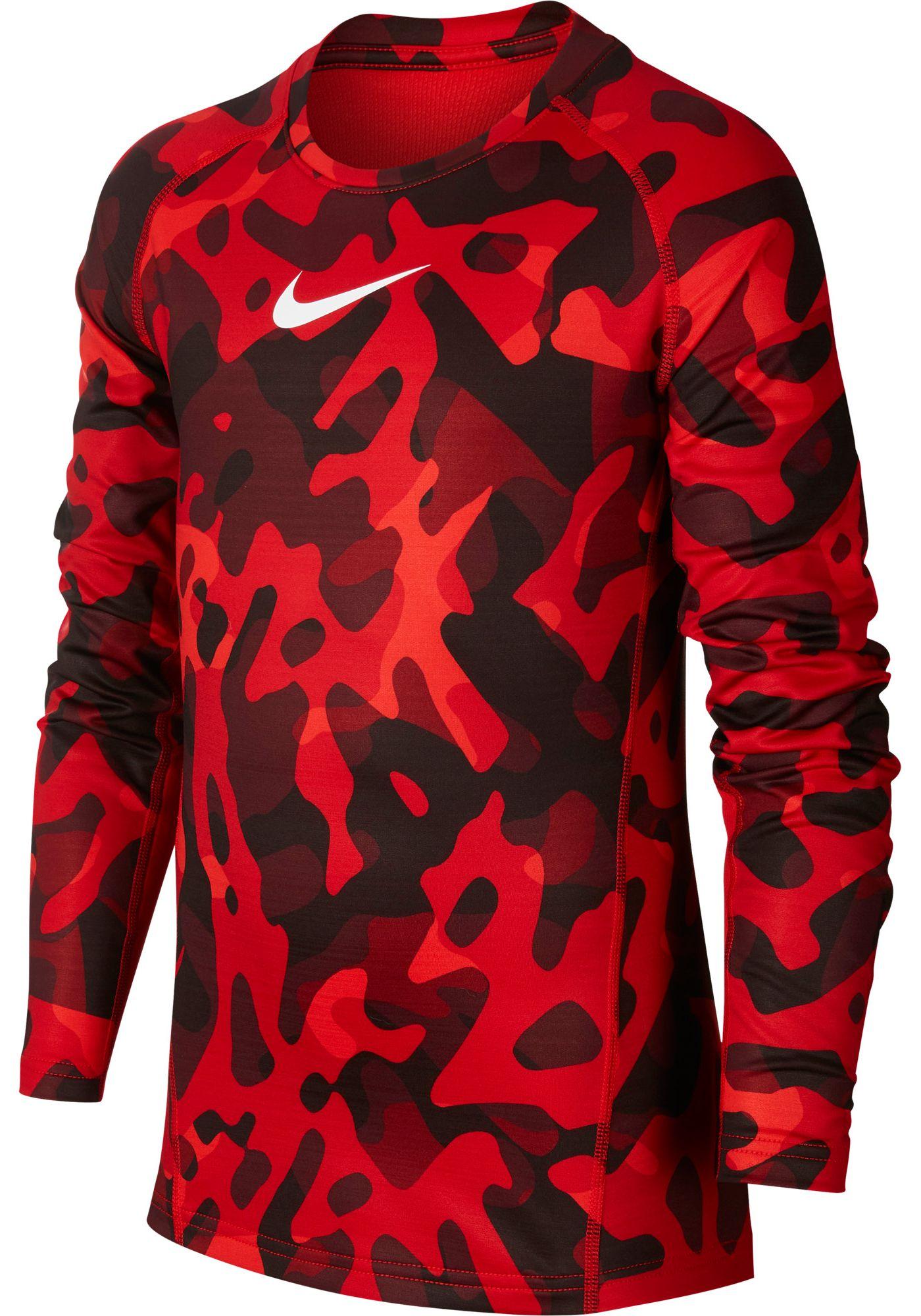 Nike Pro Boy's Printed Therma Long Sleeve Shirt