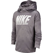 Nike Boys' Therma Embossed Hoodie in Gunsmoke