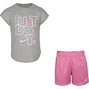Nike Girls' Just Do It Glitter Graphic T-Shirt and Shorts Set