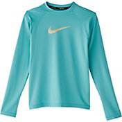 Nike Girls' Iridescent Swoosh Long Sleeve Rash Guard