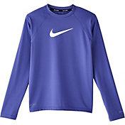 Nike Girls' Iridescent Swoosh Long Sleeve Rash Guard