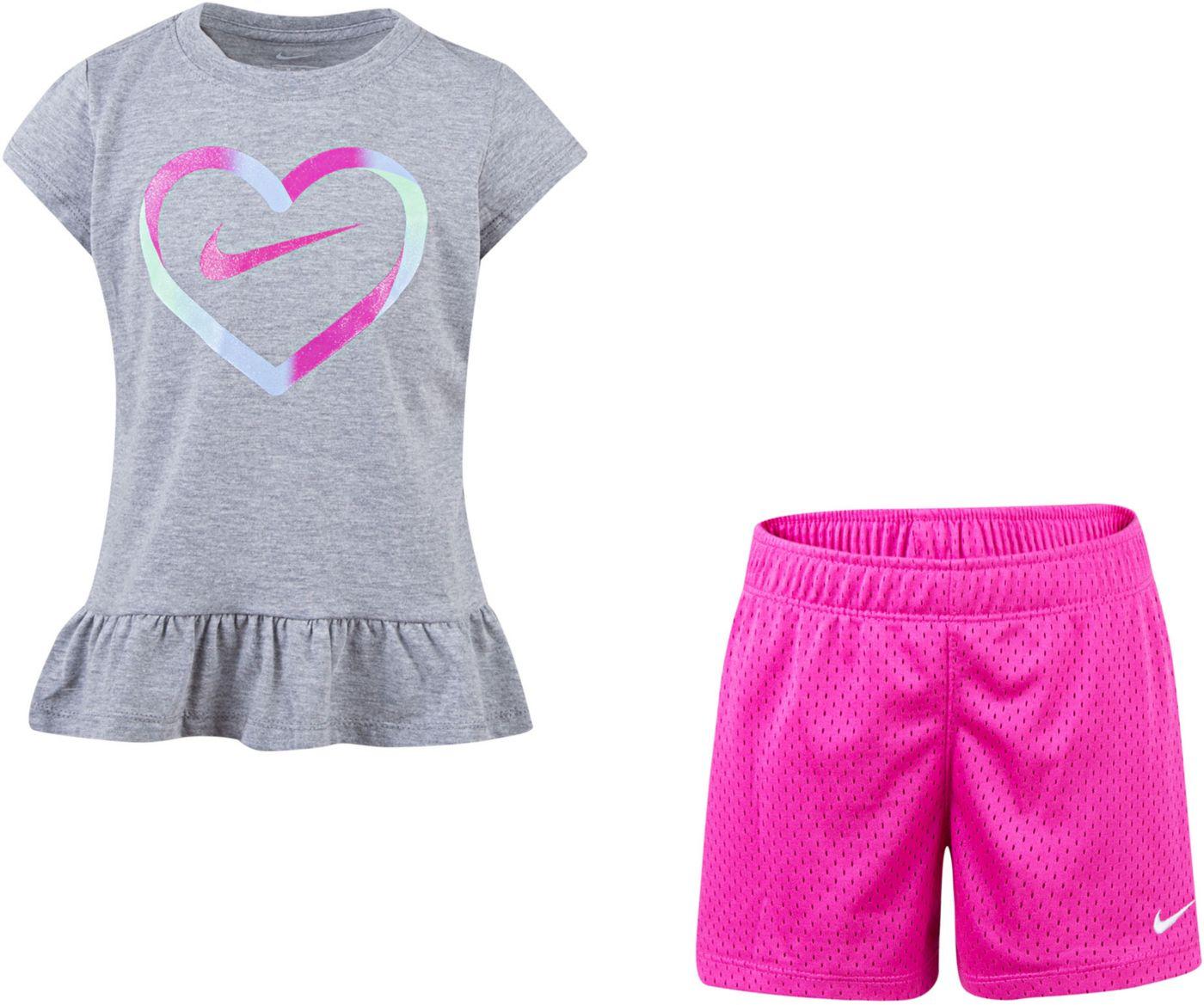 Nike Little Girls' Ruffle Top and Shorts Set