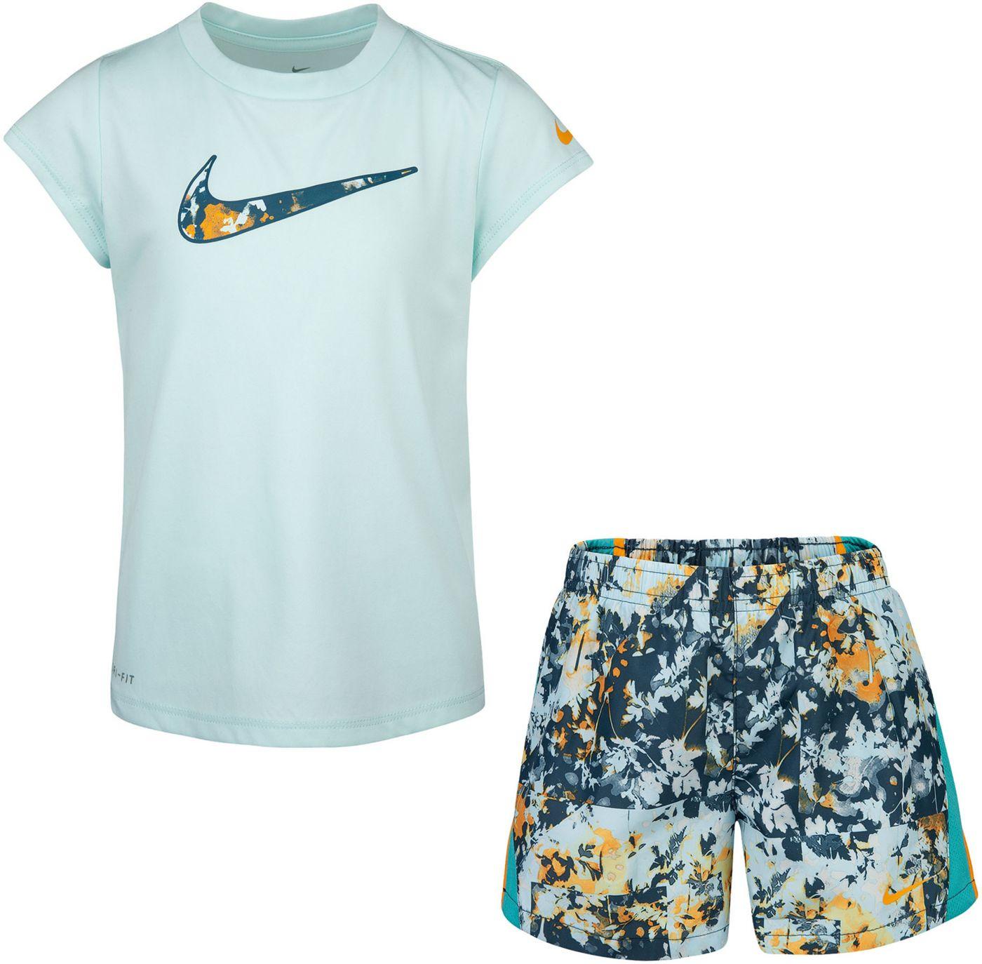Nike Little Girls' Dri-FIT Graphic T-Shirt and 10K Shorts Set