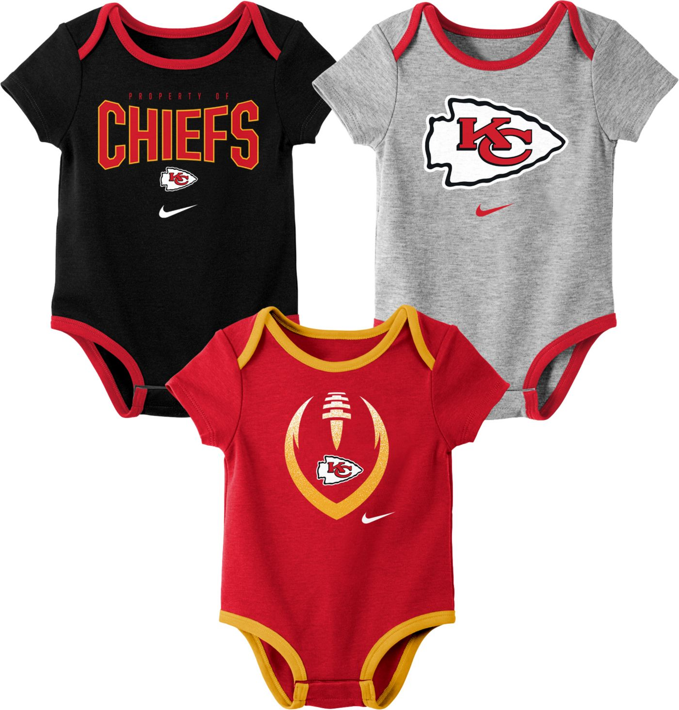 Nike Infant Kansas City Chiefs Icon 3-Pack Bodysuit
