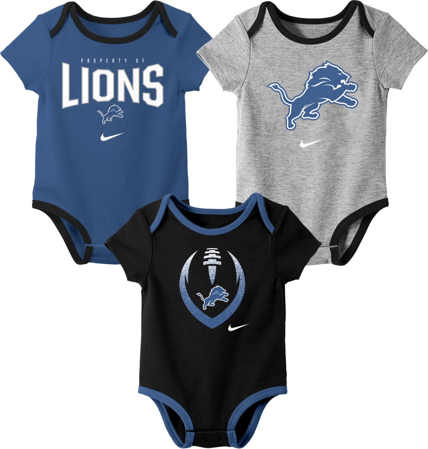 Nike Infant Detroit Lions Icon 3-Pack Bodysuit