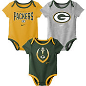 Nike Infant Green Bay Packers Icon 3-Pack Bodysuit