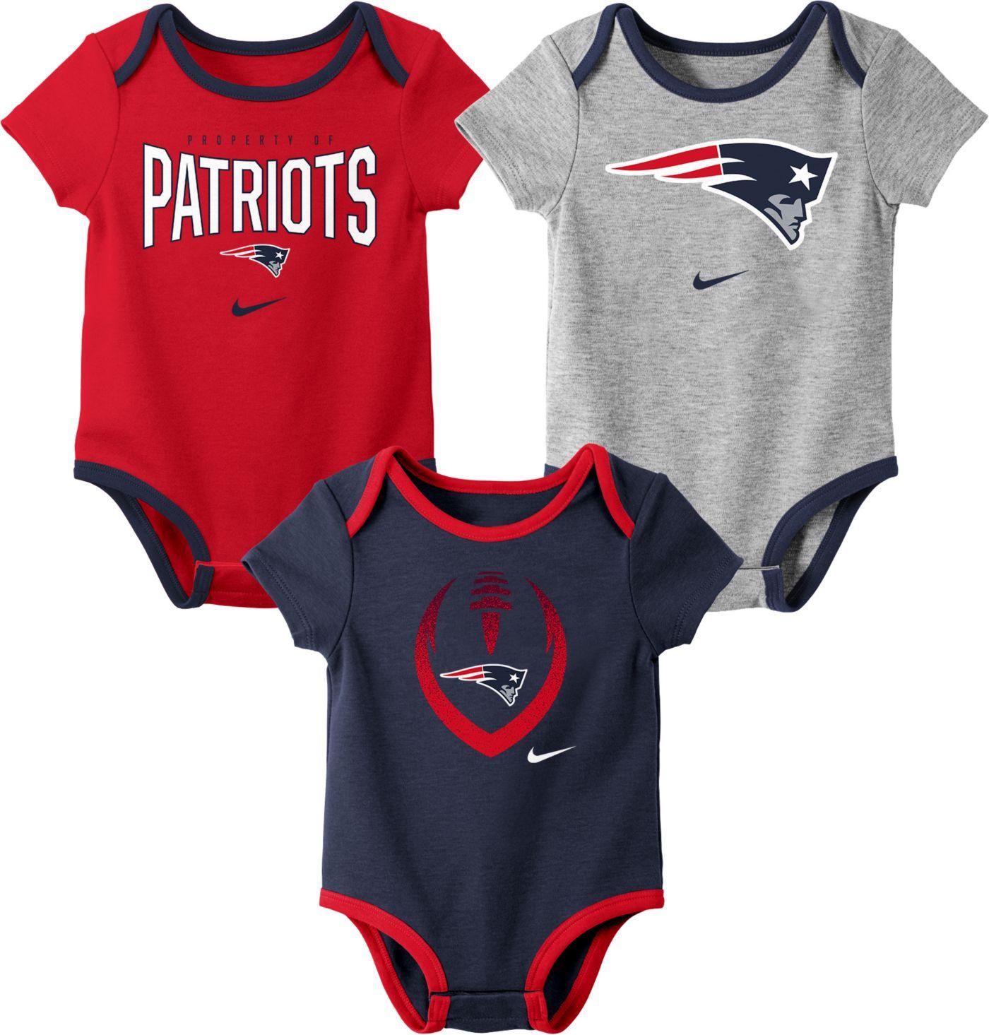 Nike Infant New England Patriots Icon 3-Pack Bodysuit