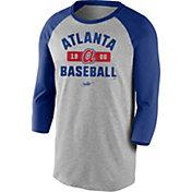 Nike Men's Atlanta Braves Grey Cooperstown Vintage Raglan Three-Quarter Sleeve Shirt