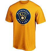 Majestic Men's Milwaukee Brewers Gold Primary Logo T-Shirt