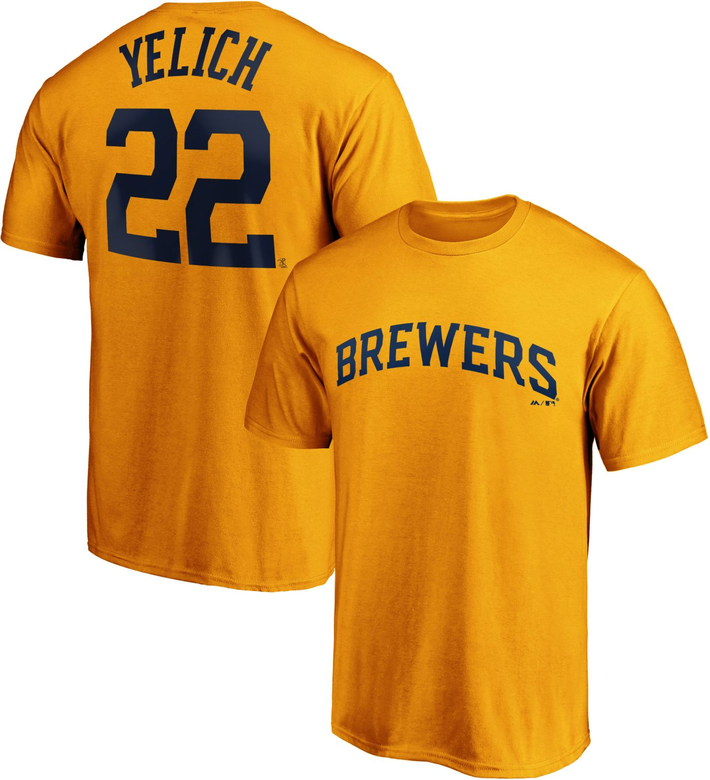 Majestic Men's Milwaukee Brewers Christian Yelich Gold #22 T-Shirt