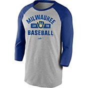 Nike Men's Milwaukee Brewers Grey Cooperstown Vintage Raglan Three-Quarter Sleeve Shirt