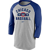 Nike Men's Chicago Cubs Grey Cooperstown Vintage Raglan Three-Quarter Sleeve Shirt