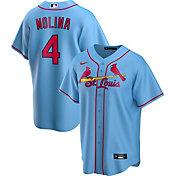 Nike Men's Replica St. Louis Cardinals Yaider Molina #4 Blue Cool Base Jersey