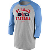Nike Men's St. Louis Cardinals Grey Cooperstown Vintage Raglan Three-Quarter Sleeve T-Shirt