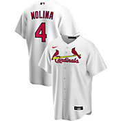 Nike Men's Replica St. Louis Cardinals Yaider Molina #4 White Cool Base Jersey