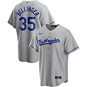 Nike Men's Replica Los Angeles Dodgers Cody Bellinger #35 Grey Cool Base Jersey