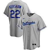 Nike Men's Replica Los Angeles Dodgers Clayton Kershaw #22 Grey Cool Base Jersey