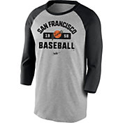 Nike Men's San Francisco Giants Grey Cooperstown Vintage Raglan Three-Quarter Sleeve T-Shirt