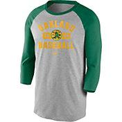 Nike Men's Oakland Athletics Grey Cooperstown Vintage Raglan Three-Quarter Sleeve Shirt