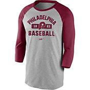 Nike Men's Philadelphia Phillies Grey Cooperstown Vintage Raglan Three-Quarter Sleeve Shirt
